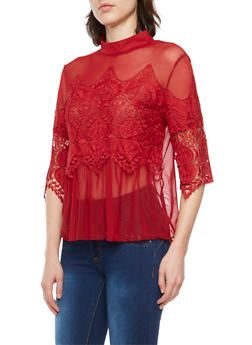 Mesh Top with Lace Accents - 1004058753282