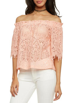 Lace Off the Shoulder Top with Fringe Trim - 1004058755095
