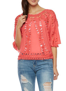 Crochet Panel Top with Batwing Sleeves - 1004058755384