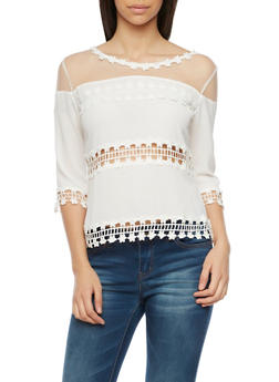 Lace Panel Top with Mesh Trim - OFF WHITE - 1004058756516