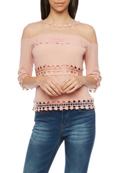 Lace Panel Top with Mesh Trim - 1004058756516