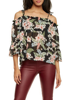 Tied Off the Shoulder Top in Floral Print - 1004058756559