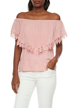 Ruffled Off the Shoulder Top with Crochet Trim - BLUSH - 1004058756644