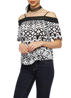 Off The Shoulder Top in Aztec Print and Crochet Trim - BLACK/WHITE - 1004058756710