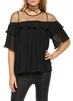 Pleated Top with Mesh Yoke - 1004058756792