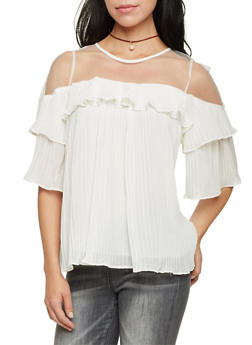 Pleated Top with Mesh Yoke - IVORY - 1004058756792