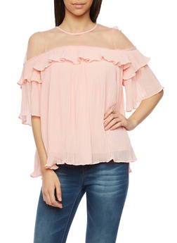 Pleated Top with Mesh Yoke - BLUSH - 1004058756792