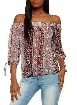 Floral Off the Shoulder Peasant Top with Sleeve Tie - 1004058756833