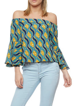 Printed Off the Shoulder Top with Bell Sleeves - 1004058756836