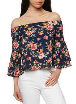 Floral Off the Shoulder Top with Bell Sleeves - 1004058756837