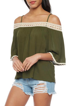 3/4 Sleeve Off The Shoulder Top with Crochet Trim - OLIVE/NATURAL - 1004058756930