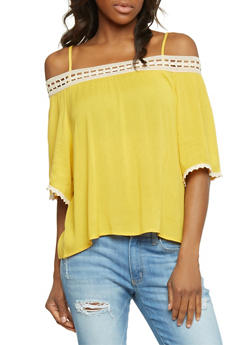 3/4 Sleeve Off The Shoulder Top with Crochet Trim - MUSTARD/NATURAL - 1004058756930