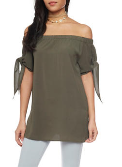 Off the Shoulder Top with Tie Sleeves - 1004058757075