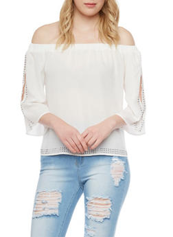 Studded 3/4 Off The Shoulder Top - 1004058757133