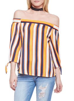 Striped Off the Shoulder High Low Blouse with Tie Sleeves - 1004058757138