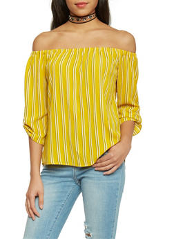 Striped Off The Shoulder ¾ Tab Sleeve Peasant Top - MUSTARD - 1004058757142