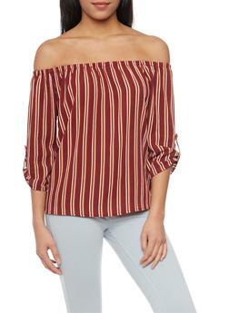 Striped Off The Shoulder ¾ Tab Sleeve Peasant Top - BURG - 1004058757142
