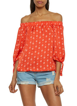 3/4 Tie Sleeve Off The Shoulder Printed Top - 1004058757164