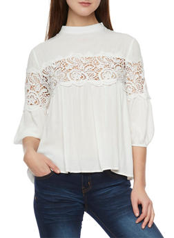 3/4 Sleeve Solid Top with Crochet Insert - OFF WHITE - 1004058757214