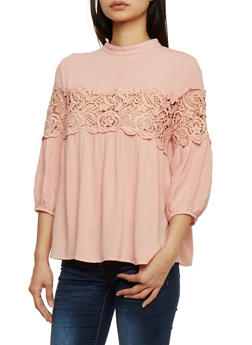 3/4 Sleeve Solid Top with Crochet Insert - 1004058757214