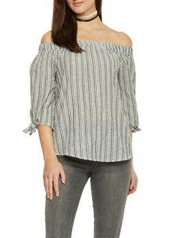Striped Tie Sleeve Off The Shoulder Top - 1004058757223