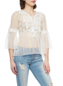 Mesh and Crochet Lace Up Top with Bell Sleeves - WHITE - 1004058757235