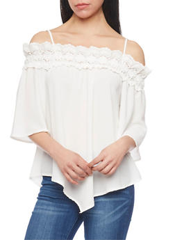 Three Quater Sleeve Crochet Trim Cold Shoulder Top - 1004058757260