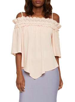 Three Quater Sleeve Crochet Trim Cold Shoulder Top - DUSTY PINK - 1004058757260