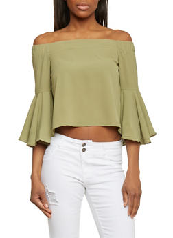 Off The Shoulder Crop Top with Bell Sleeves - OLIVE - 1004058757423
