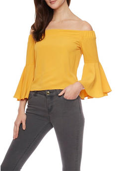 Off The Shoulder Crop Top with Bell Sleeves - MUSTARD - 1004058757423