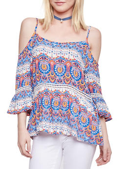 Printed Cold Shoulder Top with Crochet Inserts - 1004058757450