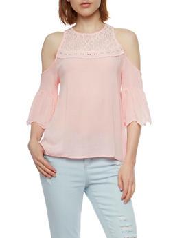 Gauze Knit Cold Shoulder Lace Yoke Top - 1004058757803