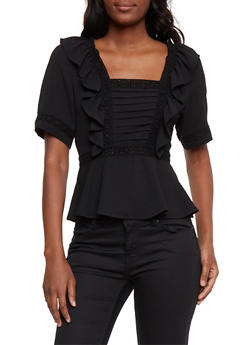 Ruffled Square Neck Top with Crochet Trim - 1004058757847