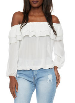 Long Sleeve Off the Shoulder Top with Ruffled Overlay - WHITE - 1004067330469