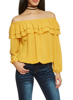 Long Sleeve Off the Shoulder Top with Ruffled Overlay - MUSTARD - 1004067330469