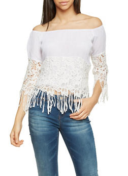 Off The Shoulder Top with Crochet and Fringe - WHITE - 1004067330707