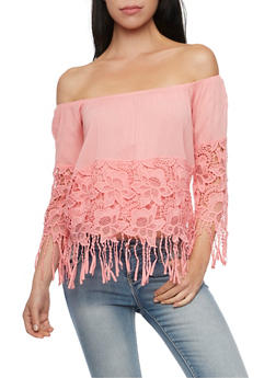 Off The Shoulder Top with Crochet and Fringe - BLUSH - 1004067330707