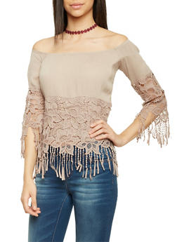 Off The Shoulder Top with Crochet and Fringe - 1004067330707