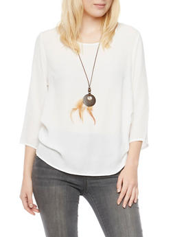 Oversize Chiffon Top with Removable Necklace - 1004067330710