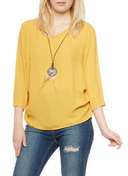 Oversize Chiffon Top with Removable Necklace - MUSTARD - 1004067330710