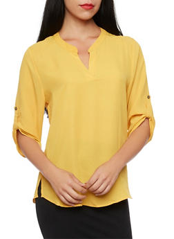 Chiffon Blouse with Button Cuff Sleeves - MUSTARD - 1004067330711