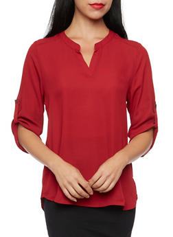 Chiffon Blouse with Button Cuff Sleeves - BURGUNDY - 1004067330711