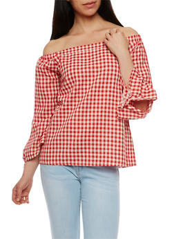 Gingham Off the Shoulder Top - 1004067332434