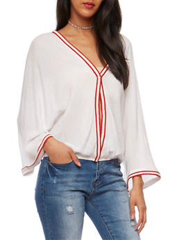 Single Button Blouse with Embroidered Trim - 1004067332634
