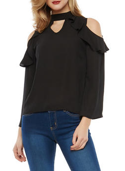 Ruffle Cold Shoulder Top - 1004074290131