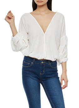 Ruched Sleeve Criss Cross Back Top - 1004074290153