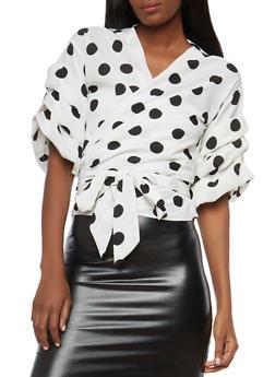 Polka Dot Tiered Sleeve Wrap Top - 1004074290162