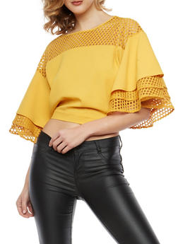 Mesh Trim Tiered Sleeve Top - 1004074290711