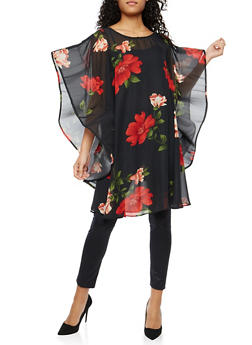 Floral Wired Sleeve Tunic Top - 1004074290714