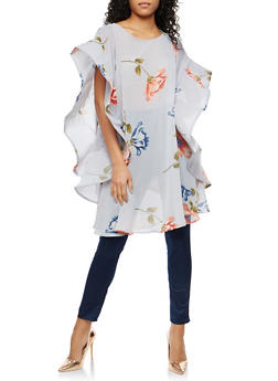 Floral Wired Sleeve Tunic Top - 1004074290715